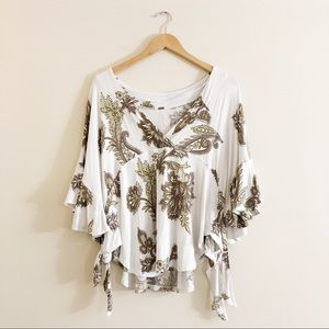 Free People Cream Paisley Flowy Blouse Size Small
